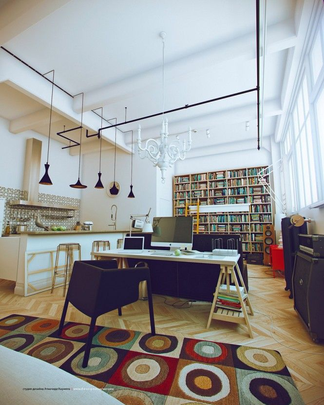 White Studio Apartment: Best Place to Stay and Work: Simple Light Decor With Black Pendant Lights For Your Living Room ~ frashii.com Apartment Inspiration
