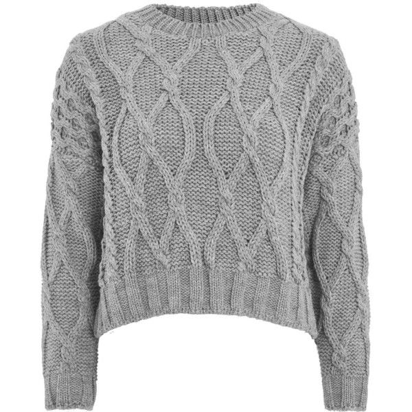 TopShop Crop Cable Knit Sweater (230 PLN) ❤ liked on Polyvore featuring tops, sweaters, grey, jumper, grey cropped sweater, cropped jumper, cable-knit sweater, cable knit sweater and cable sweaters
