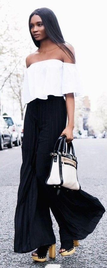 #summer #stylish #style #outfitideas | White Crop + Black Palazzo Pant