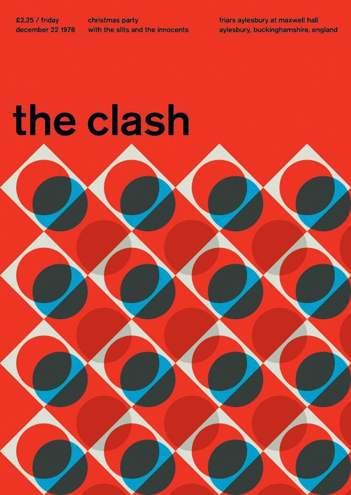 the clash at maxwell hall, 1978. Reimagined poster Swissted