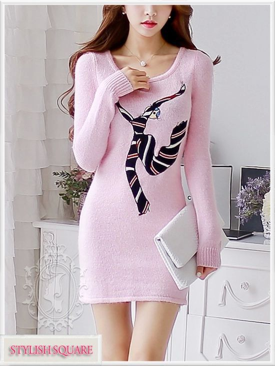 Pink Long-Sleeved Sweater Dress