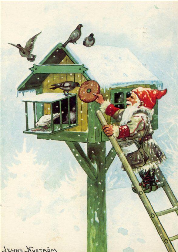 Jenny Nystrom, Tomten feeding birds. Vögel Vogelhaus Nisse Wichtel