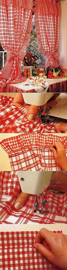 Как сшить шторы своими руками: кухонные занавески на петлях с воланами. Пошаговое описание + выкройка   КУХОННЫЕ ШТОРЫ-ЗАНАВЕСКИ СВОИМИ РУКАМИ.