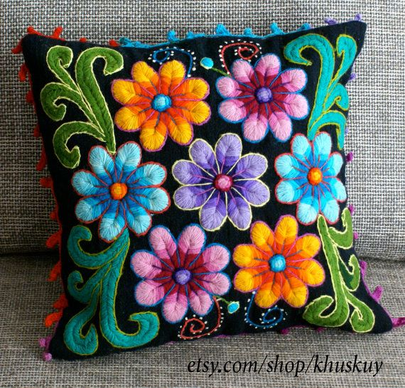 Peruvian Pillow cushion cover Hand embroidered flowers Sheep & alpaca wool 16 x 16 handmade Black