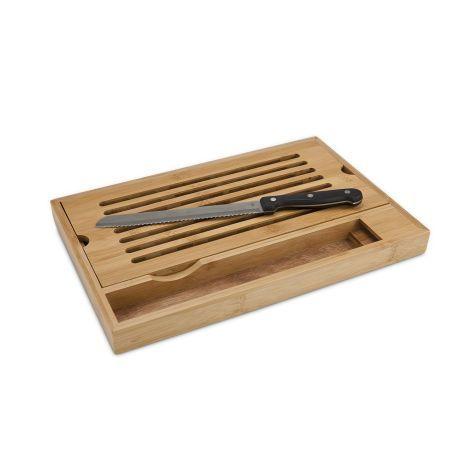 Brotschneidebrett, Krümel, Bambus, Edelstahl Vorderansicht