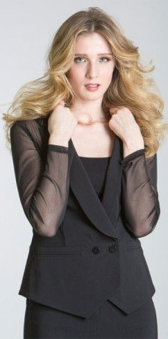 Sheer sleeve jacket BCJ8159 available in black and white