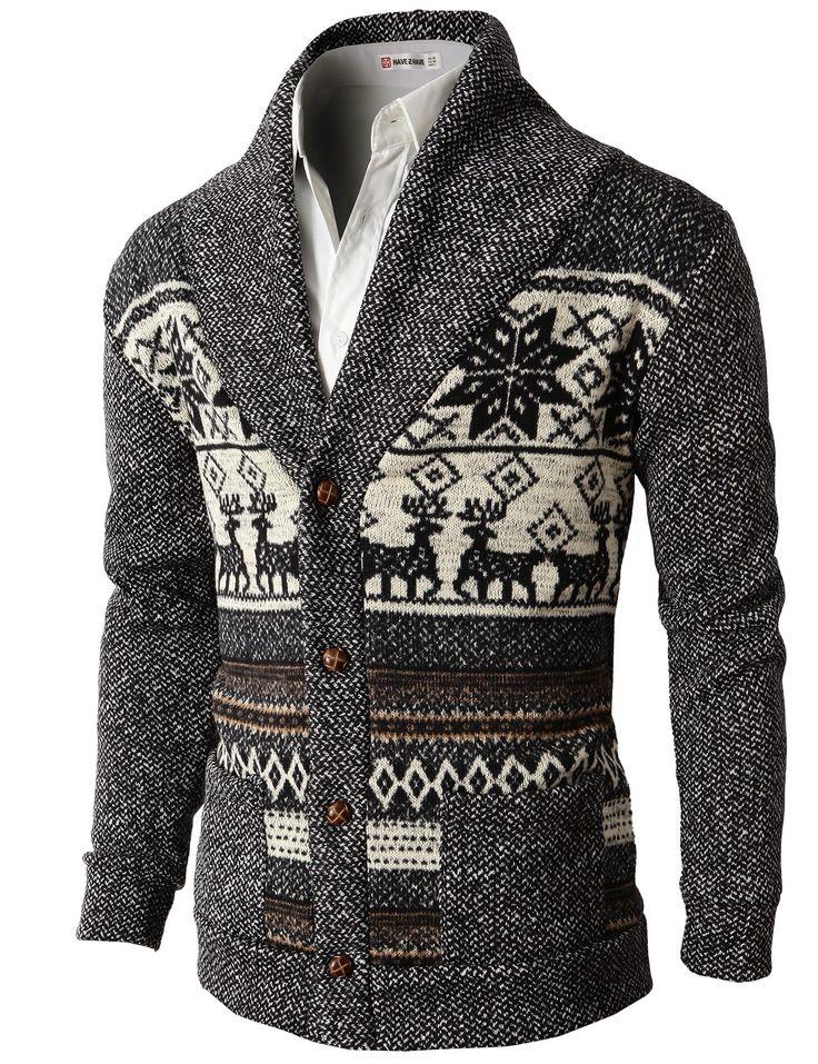 Mens Casual Nordic Patterned Knited Shawl Collar Cardigan (KMOCAL026) #doublju
