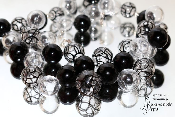 """Collection Necklace """"Magic graphics. Black and white."""" Artisan lampwork hollow beads, sterling silver."""