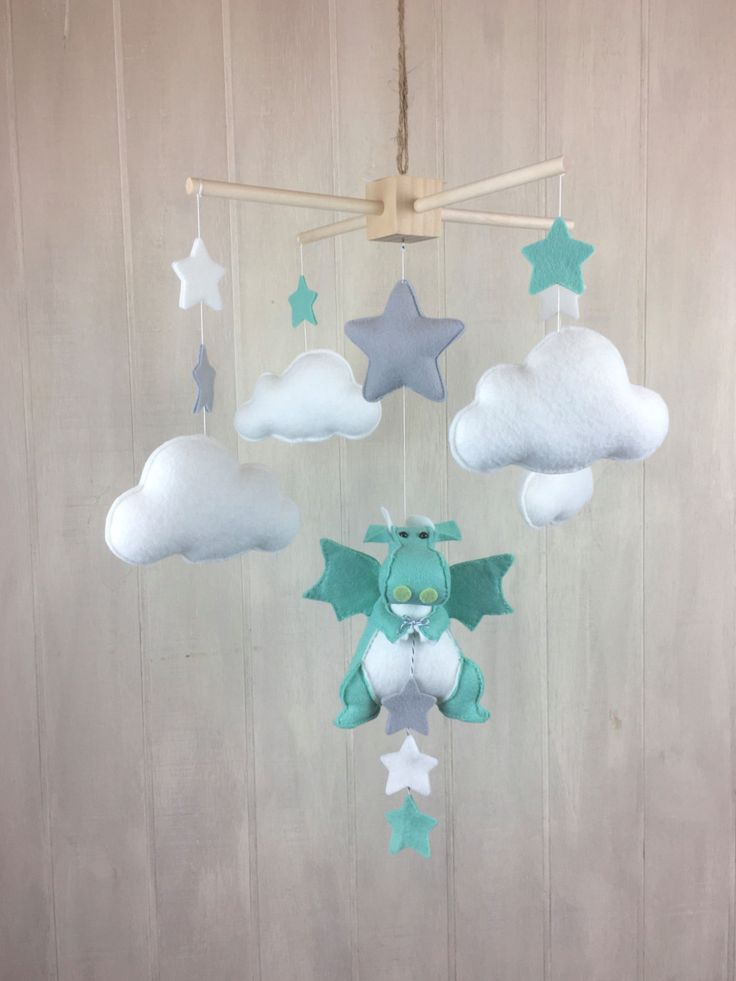 Baby mobile - dragon mobile - star mobile - cloud mobile - mint mobile - fairytale nursery - nursery movie - children room - playroom decor by JuniperStreetDesigns on Etsy https://www.etsy.com/listing/468055191/baby-mobile-dragon-mobile-star-mobile