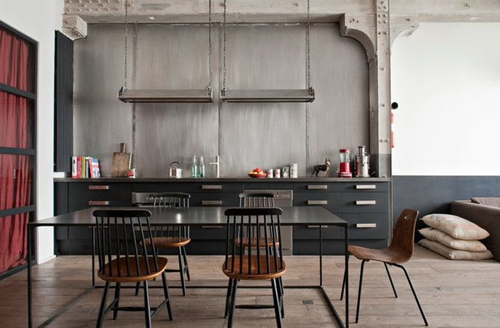Kitchens Extraordinary Black And White Themed Industrial Style Kitchen Design With Black Cabinets And Black Dining Table - pictures, photos, images