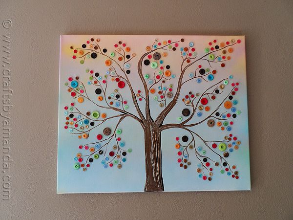 Button Tree on Canvas: Trees Art, Crafts Ideas, Buttons Crafts, Vibrant Buttons, Canvas Crafts, Buttons Trees, Kids, Diy, Button Tree