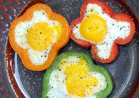 BELL PEPPER EGG RINGS — from Meatless Mondays. Bell pepper serves as a beautiful edible egg ring in this flower shaped beauty of a breakfast. This easy breakfast is easily adaptable no matter how you like your eggs, and is delicious served alongside whole wheat toast with your favorite berry jam. This recipe comes to us from Donna of Apron Strings.