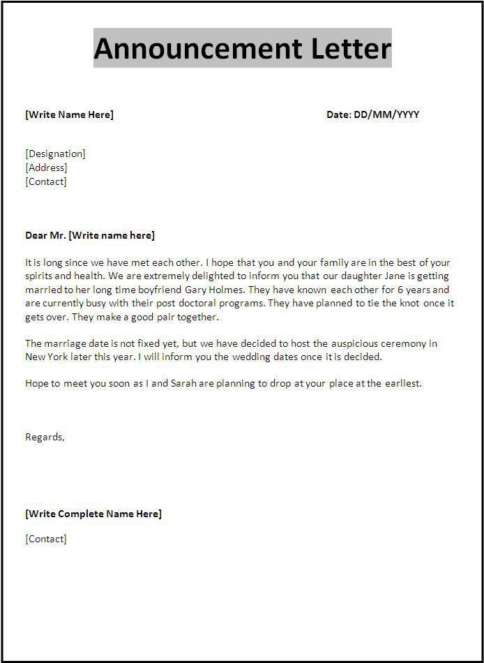official letter sample