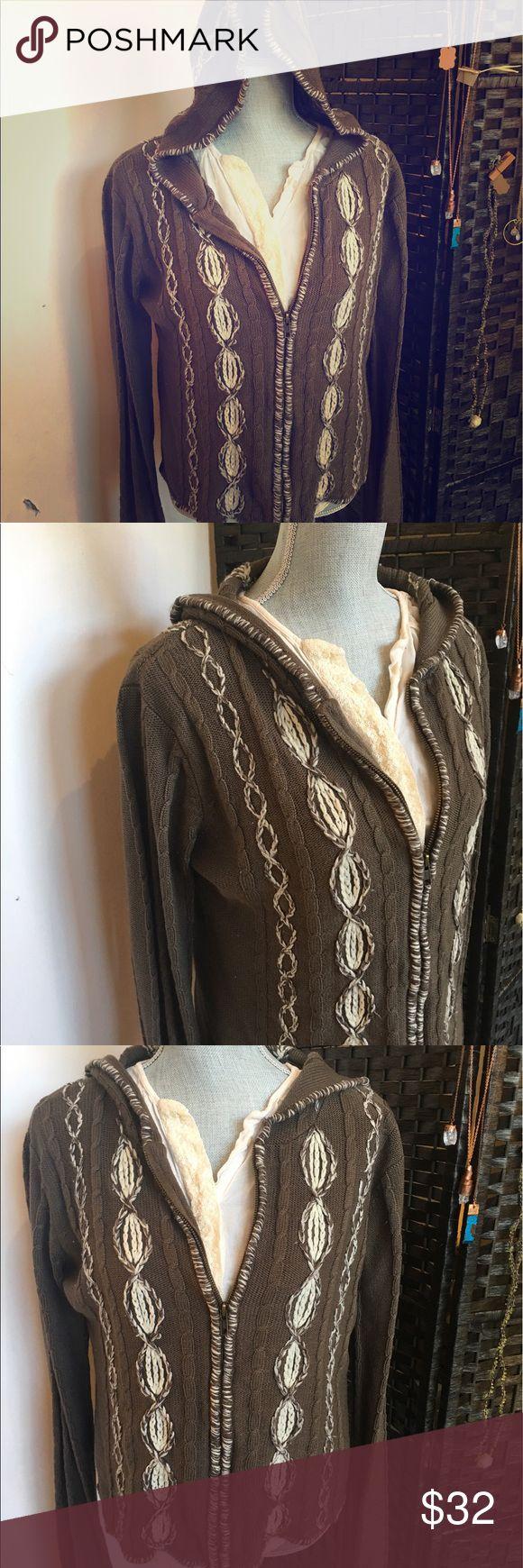 Sweater hand woven Cream and brown handwoven zip up hoodie velvet ivy Sweaters Cardigans