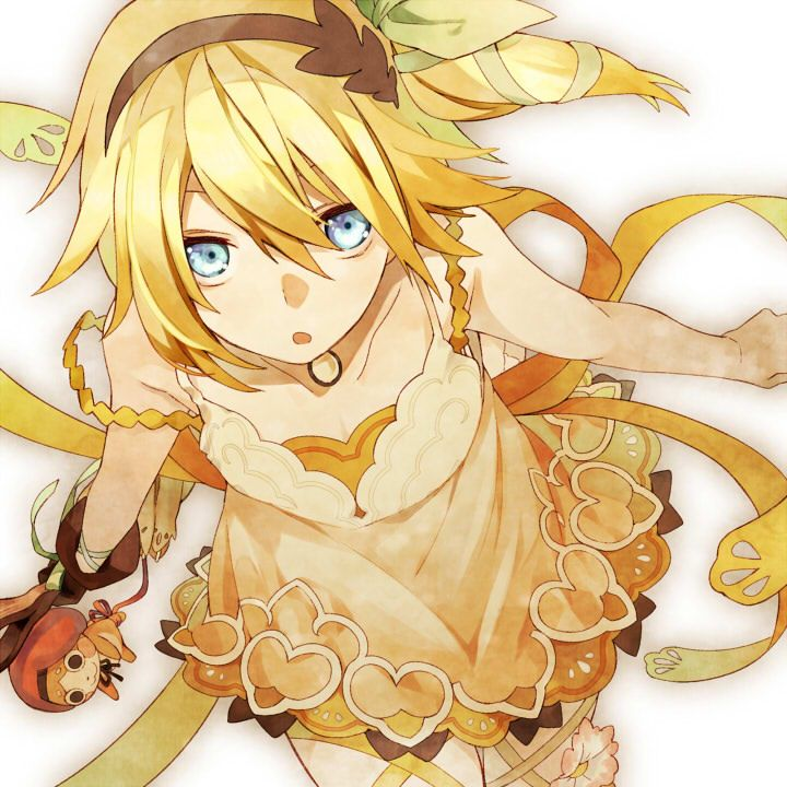 Anime, girl, kawaii, cute, blue eyes, blonde hair, yellow ...