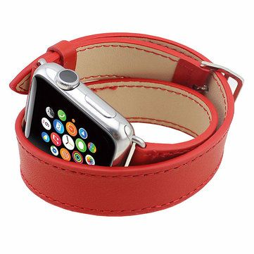 Long PU Leather Band Double Tour Bracelet Strap Watchband For Apple Watch 38/42 mm Sale - Banggood.com