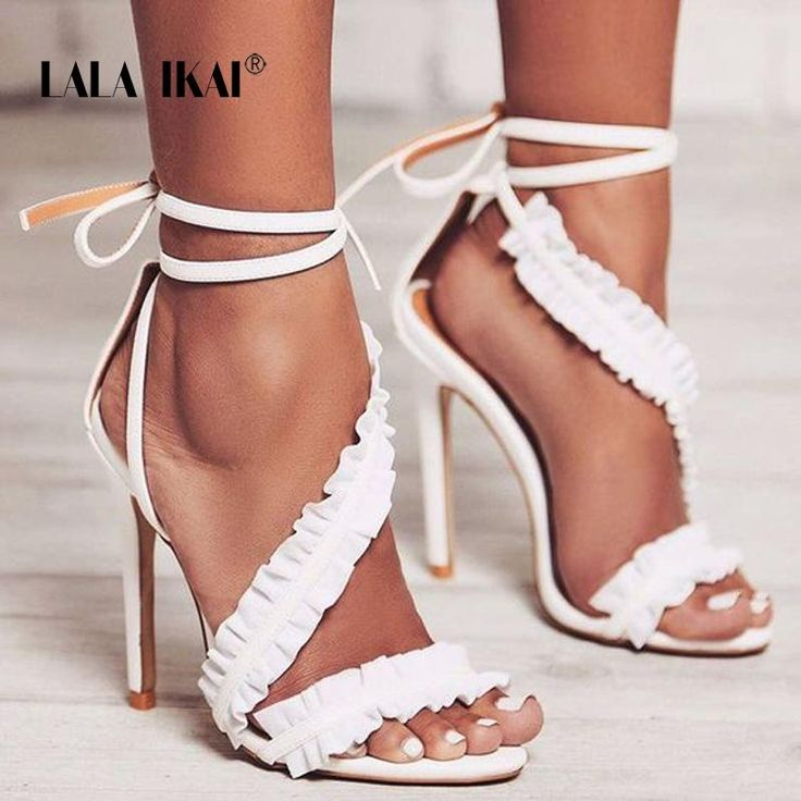 LALA IKAI Ankle Strap High Heels Women Ruffles Summer shoes Solid Lace-Up