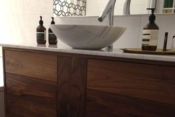 Custom American Walnut Bathroom Vanity
