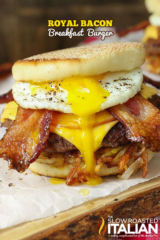 The Royal Bacon Breakfast Burger is the ultimate combination of breakfast and dinner. It is piled high, layer upon layer of amazing breakfast flavors. With the perfect crunch from the breakfast bun, crisp potatoes, and two types of bacon this burger is a dream come true. It is topped with a rich, luscious sunny side up egg that pulls this entire burger together.