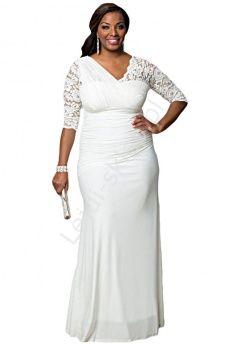 Długa biała suknia z asymetryczną koronką   białe sukienki Plus Size