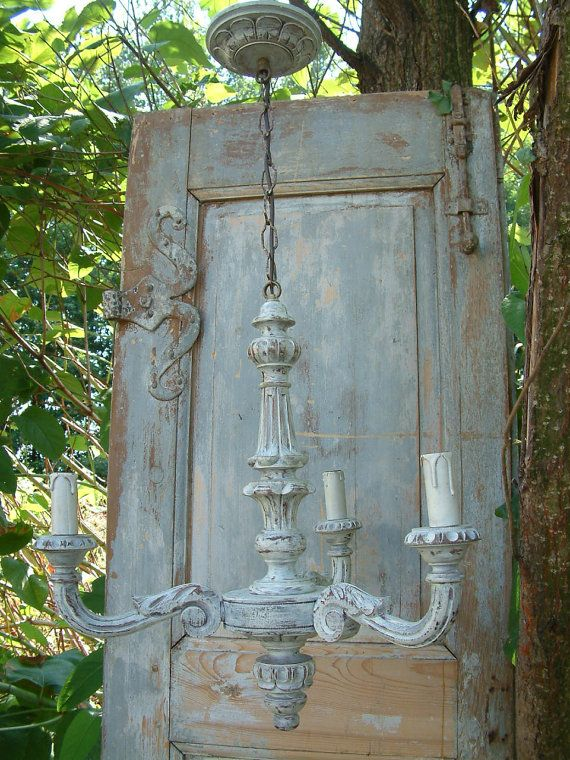 French vintage solid wood painted 3 branch chandelier. Shabby french country cottage chic