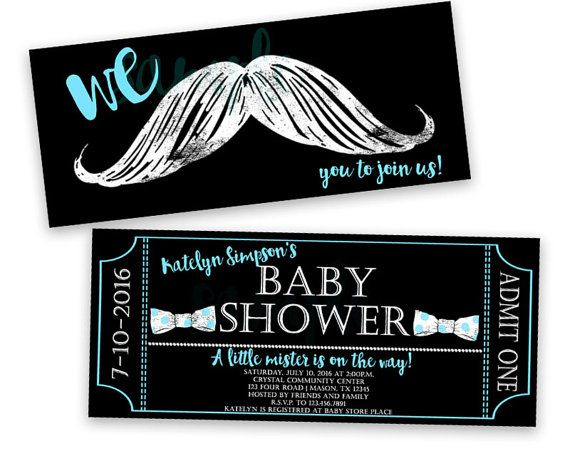 These sweet bowtie and mustache ticket invitations are perfect for your mustache baby Shower, designed to look like a faux chalk style