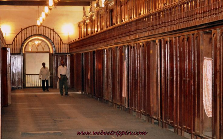 Hyderabad - Museum of the Nizams 176ft long wardrobe chamber. HEH Mir Mahbub Ali Khan, the Nizam of the 18th century never wore the same clothes twice and they were given away. The closets are made of the finest Burma teak.