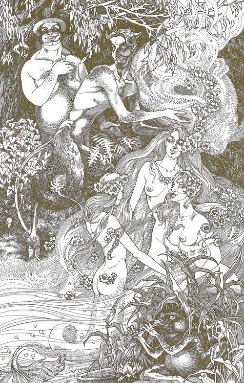 Купание Маргариты. Иллюстрации к «Мастеру и Маргарите» Павла Оринянского.