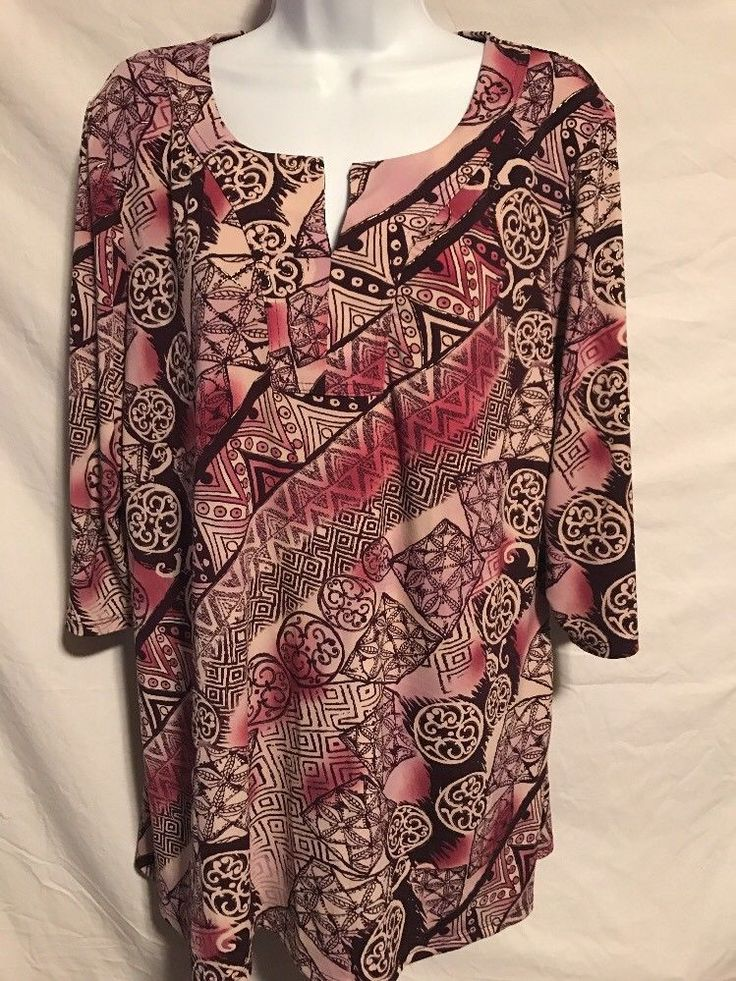 Susan Graver Women Large Purple Pattern Poly Liquid Knit Tunic Shirt  | eBay