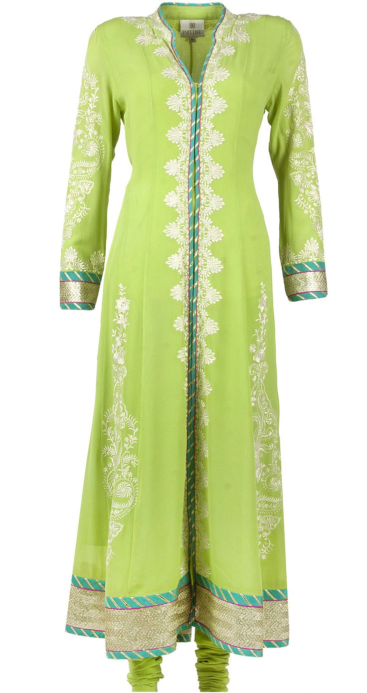 Apple green embroidered anarkali available only at Pernia's Pop-Up Shop.