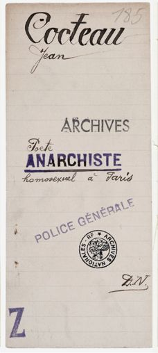 """Police archives for """" Poet, Anarchist and Homosexual Jean Cocteau staying in Paris"""""""