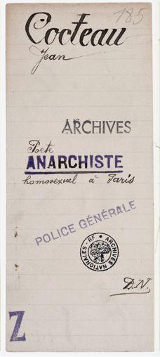 "Police Archive- Jean Cocteau ""Anarchiste"""