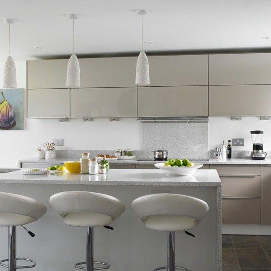 Grey streamlined kitchen