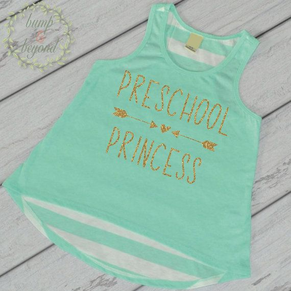 First Day of School Shirt Preschool Princess Shirt 1st Day of School Outfit Preschool Tank Top Back to School Shirt by BumpAndBeyondDesigns