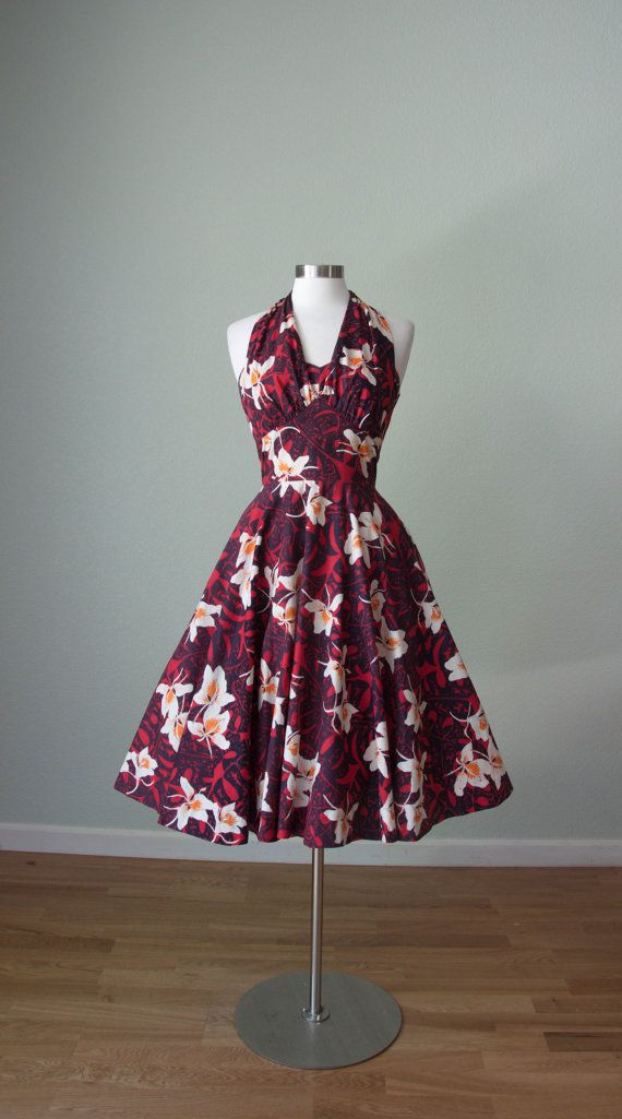 1950s Hawaiian Cotton Halter Dress // Orchid by KittyGirlVintage