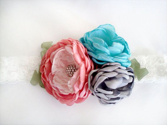Coral pink turquoise and gray headband by JensBowdaciousBows, $16.95