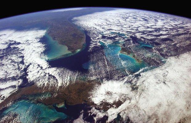 De Havana a Washington: num dia de céu limpo é possível enxergar muito do espaço (Foto: Divulgação/Chris Hadfield)