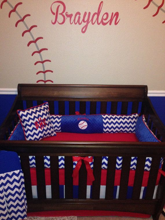Brayden custom crib set 6 pcs set in royal blue by BabiesNBaubles, $445.00 www.etsy.com/shop/babiesnbaubles