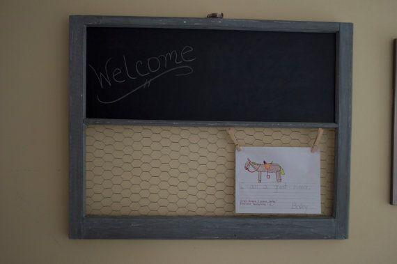 Chalkboard & Chicken Wire Window Frame