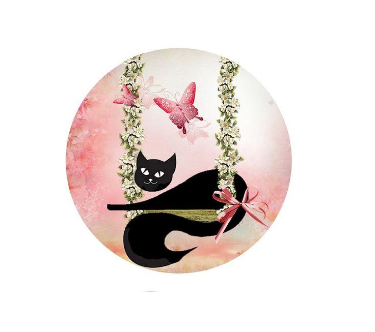 miroir de poche rond 56mm  chat noir rêveur