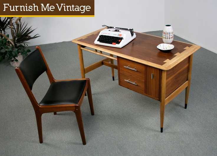 Refinished mid century modern lane acclaim desk mid for Furniture 66 long lane liverpool