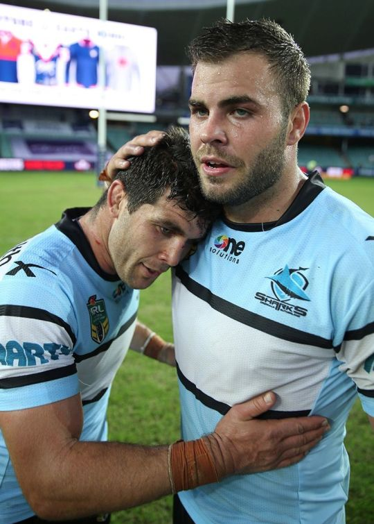 Wade Graham and Michael Ennis of the Cronulla Sharks