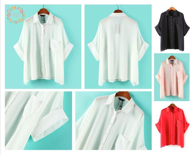 Blusa Holgada $11.900.  Tallas S, M y L. Colores Negro, Rojo, Blanco y Beige.