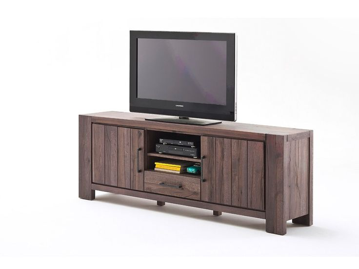 Szafka RTV z postarzanego drewna dębowego Massiv