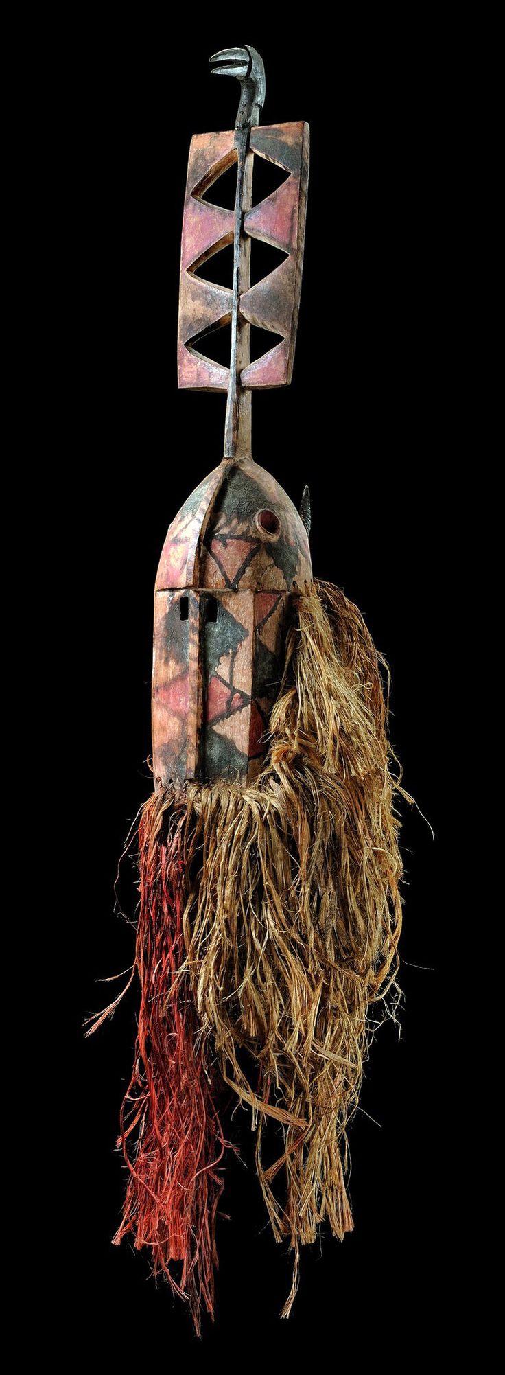 "Africa | Zoomorphic mask ""nwenka"" from the Bobo people of Burkina Faso | Wood, polychrome paint, natural fiber"