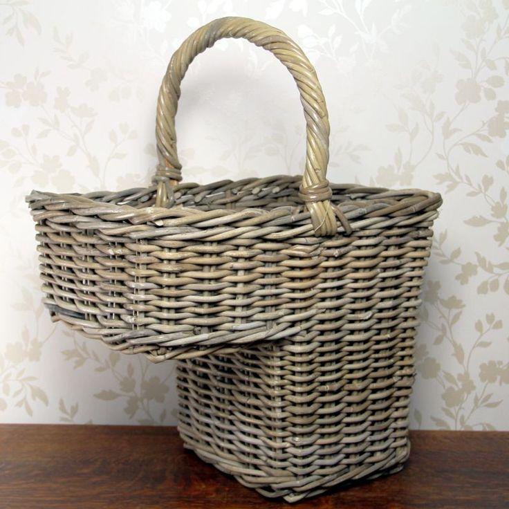 Chunky Grey Rattan Stair Basket Www.prettymaison.co.uk 01353 665141