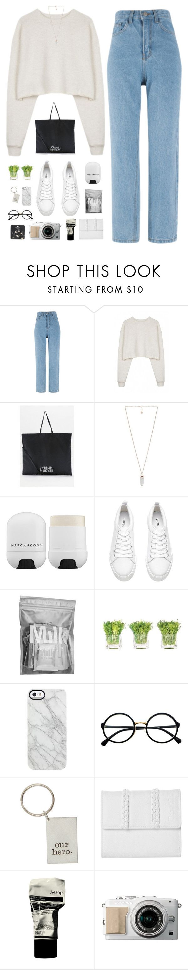 """""""Yong Jun Hyung (Highlight) ft. Heize - Wonder If"""" by nut-and-nude ❤ liked on Polyvore featuring Organic by John Patrick, Cheap Monday, Amber Sceats, Marc Jacobs, H&M, MILK MAKEUP, NDI, Uncommon, Retrò and Bench"""