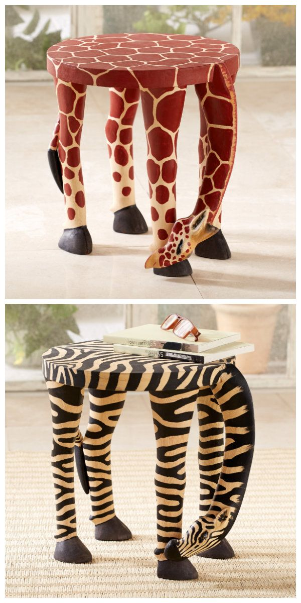 Liven up your living room with these whimsical additions. Zebra and Giraffe End Tables   National Geographic Store
