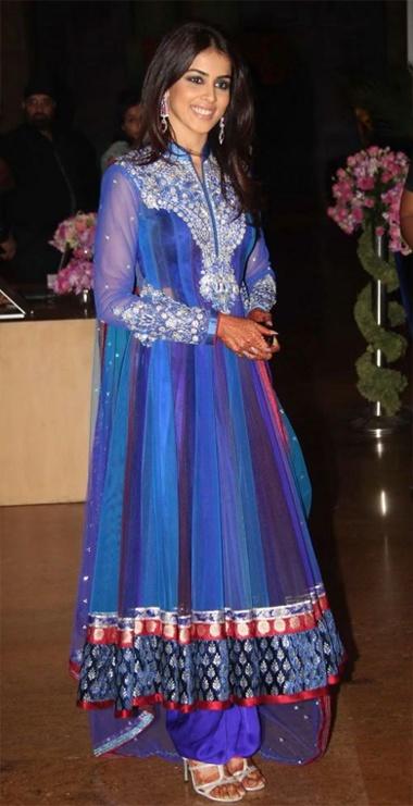 Genelia D'zouza in Blue #DesignerAnarkali