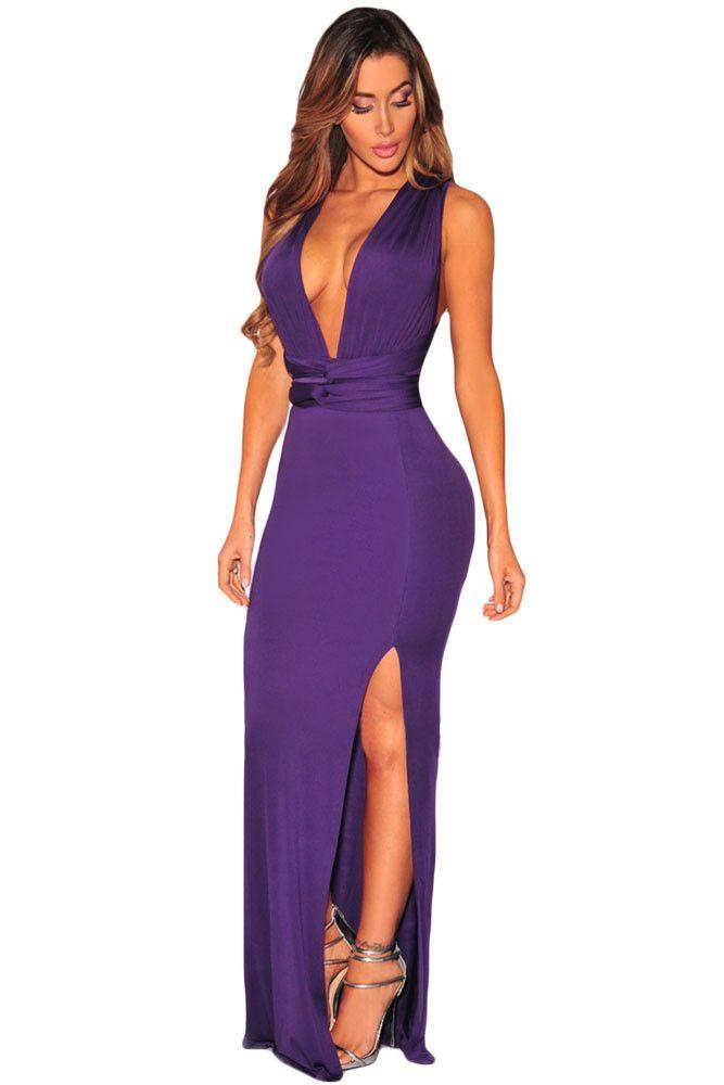 Robes Longues Violet Slit Multi Wear Robe Ajustee Pas Cher www.modebuy.com @Modebuy #Modebuy #Violet #me #dress #sexy